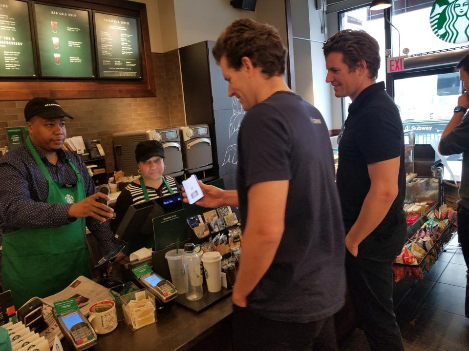 Winklevoss brothers at Starbucks