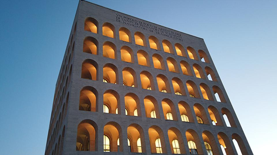 The Palazzo della Civiltà Italiana was constructed as part of a huge business center for the 1942 World's Fair.