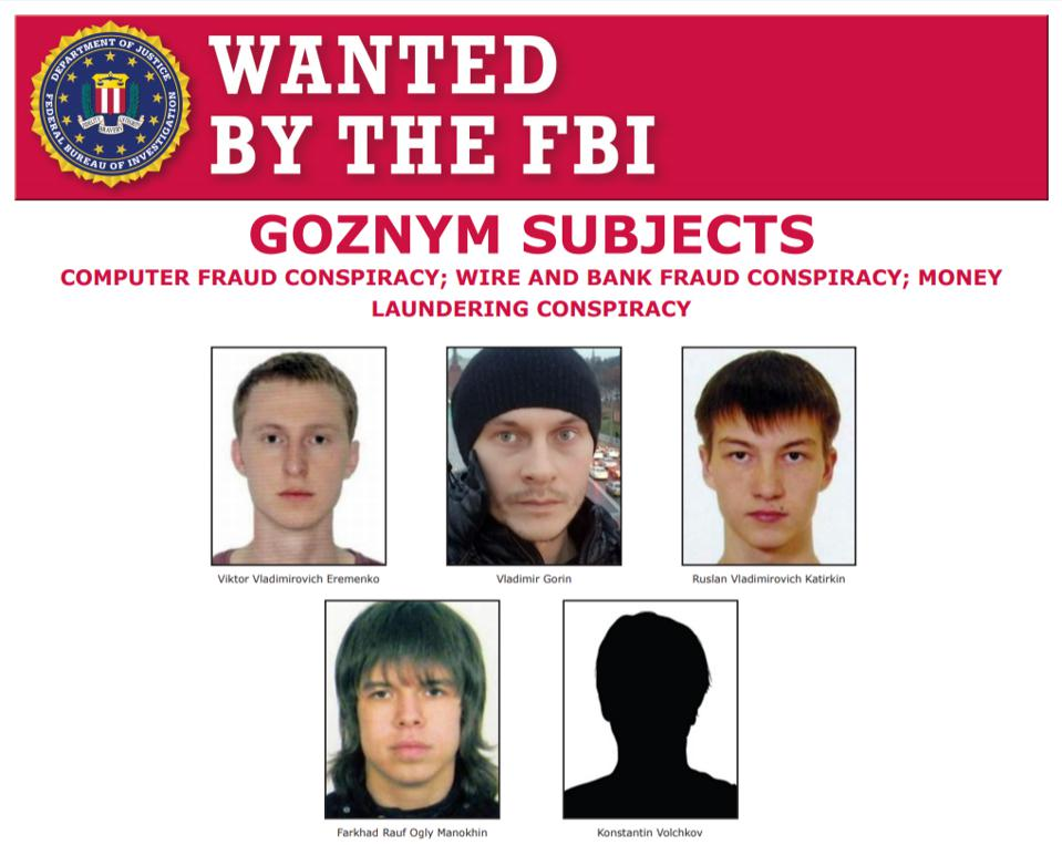 FBI Most Wanted re GozNym malware crime