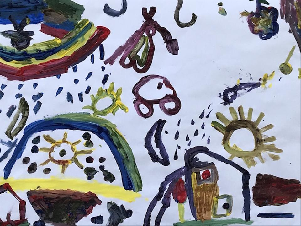 Many of the paintings created by students at Escuela Atenea in San Pedro Sula depict homes, remembered, lost or imagined.
