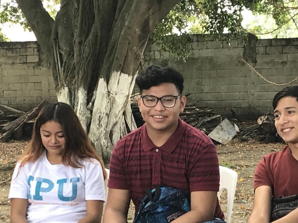 At the Instituto Perla del Ulúa, 17-year-old Christopher (above center) says the UNICEF-supported violence-prevention program at his school has helped.