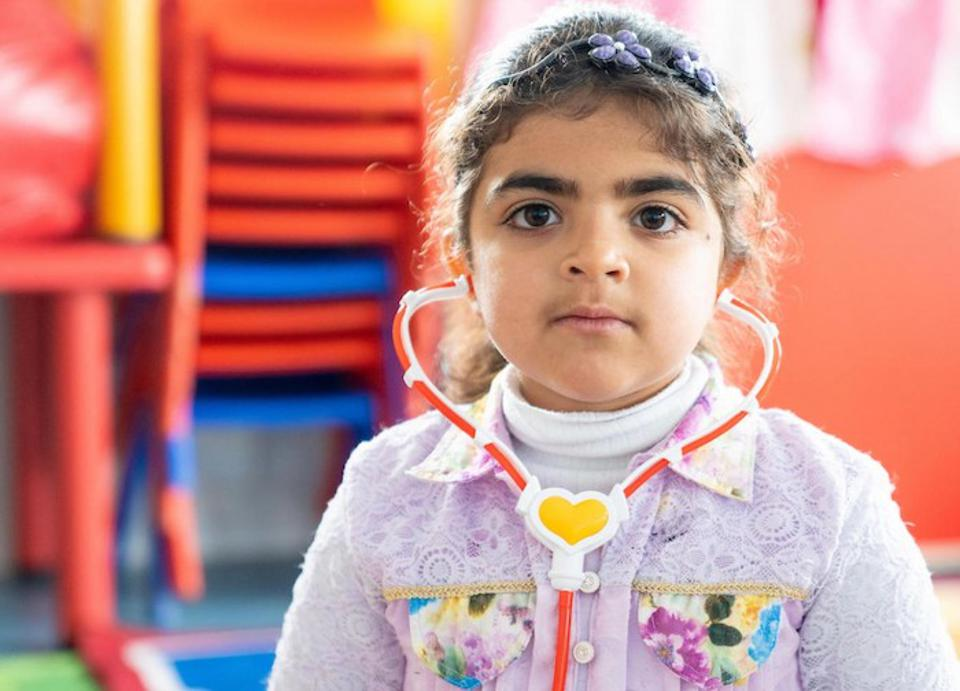 Haneen, 5, looks forward to learning and playing in her new kindergarten classroom, built and equipped by UNICEF, in Jordan's Za'atari Refugee Camp.