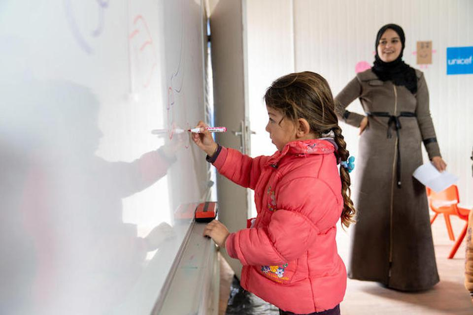 """I learn because I must. Everyone should get an education,″ says Maya, 6 in her KG class in Za'atari Refugee Camp."