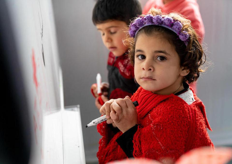 Asma'a, 6, in her kindergarten class in Za'atari Refugee Camp.