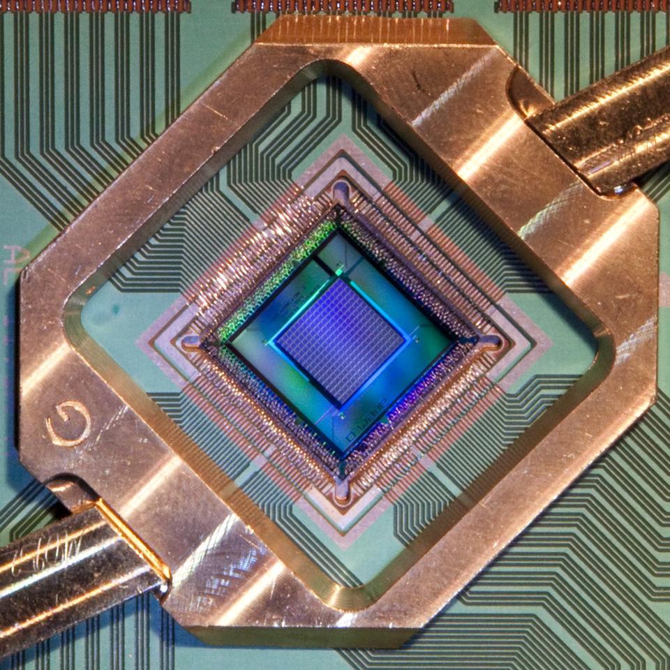 Closeup of D-Wave's 2000Q quantum processor