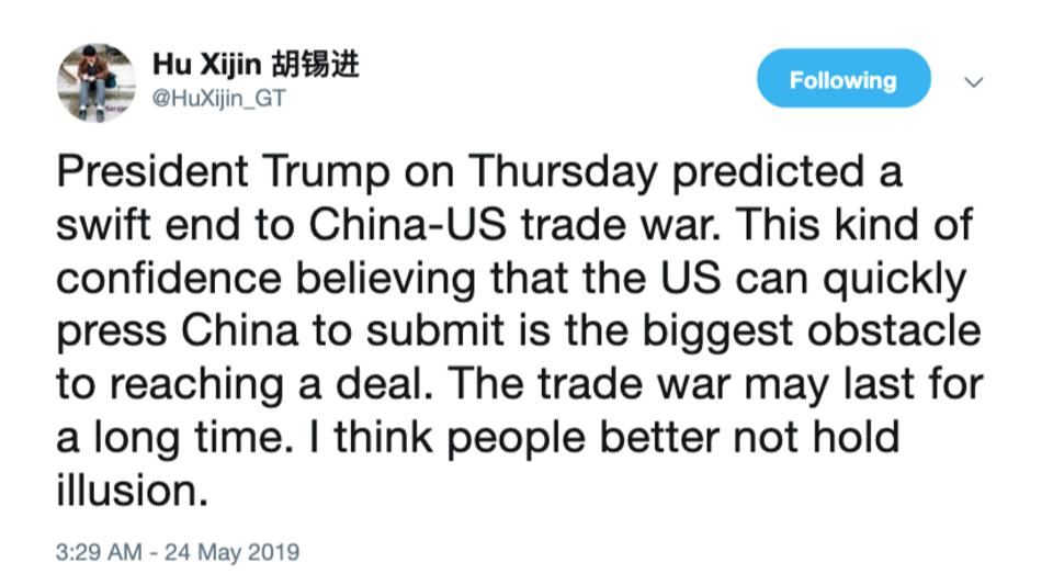 Hu Xijin, editor-in-chief of Chinese and English editions of the Global Times, forecasting trade war may last for a long time