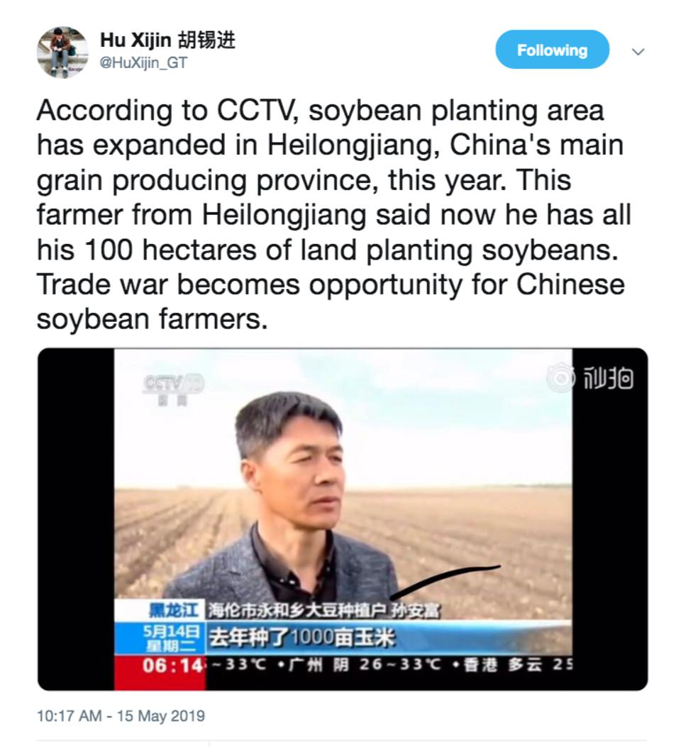 Hu Xijin, Editor-in-chief of Chinese and English editions of the Global Times, publishing China's increased soybean production