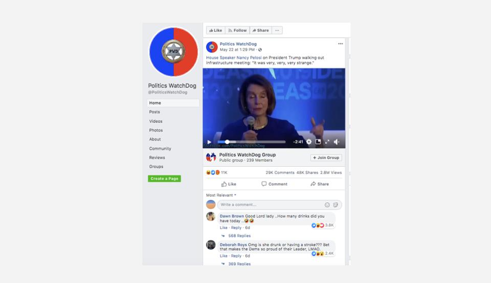 Doctored Nancy Pelosi video without any warnings on the Politics WatchDog Facebook page.