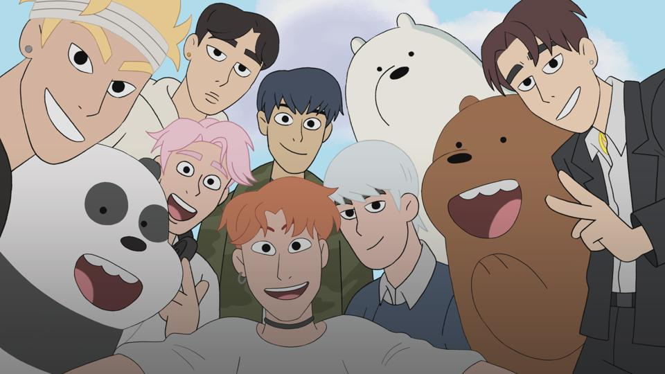 Animated versions of K-pop boy band Monsta X appear with 'We Bare Bears' main characters.