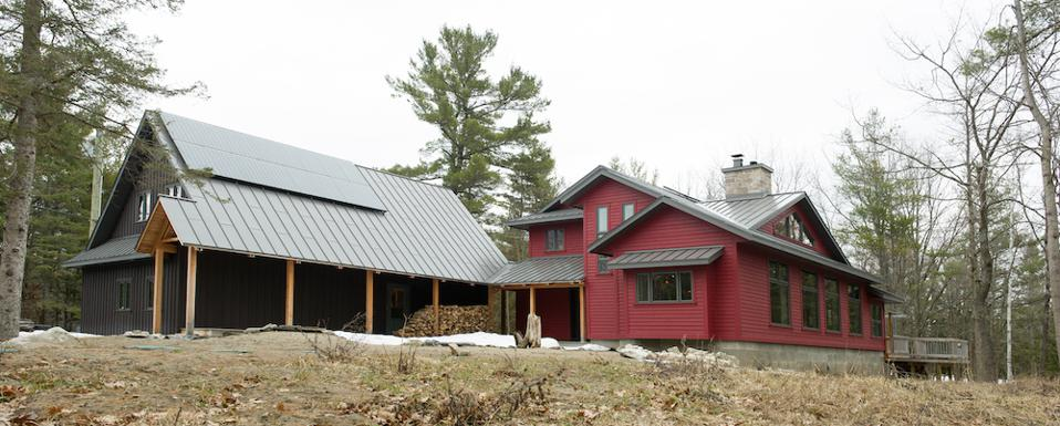 A house on Morris Island in Ontario with a standing seam roof.