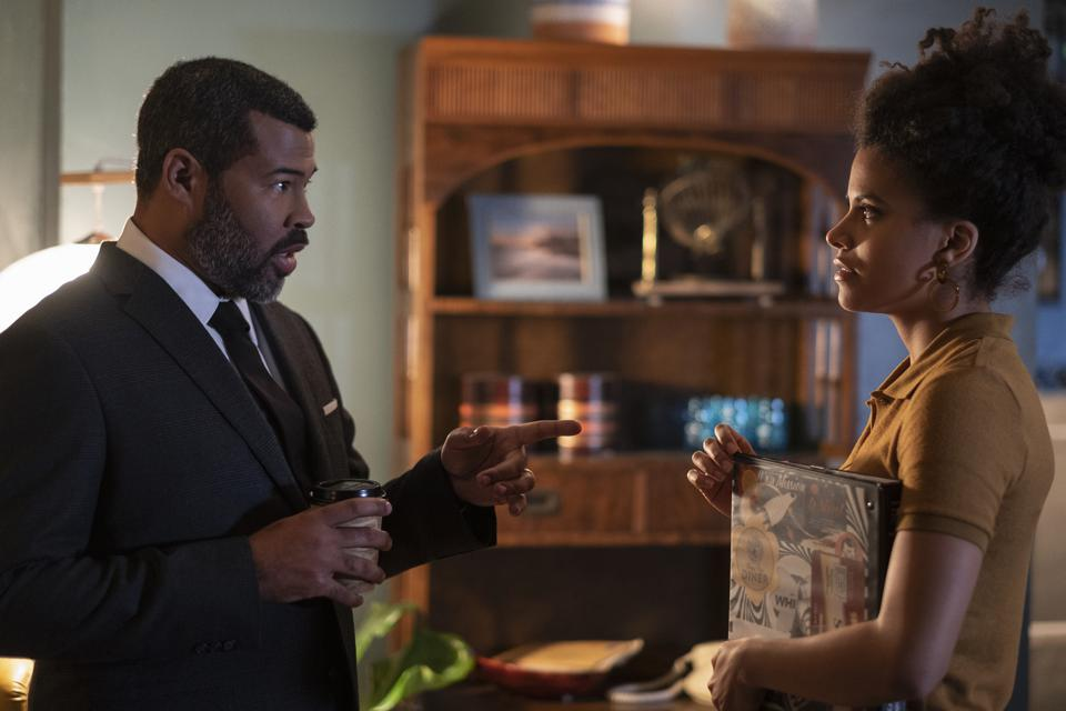 ″Blurryman″ -- Pictured (l-r): Jordan Peele as the Narrator; Zazie Beetz as Sophie Gelson of the CBS All Access series THE TWILIGHT ZONE.