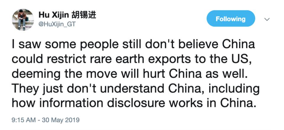 Hu Xijin tweet about Chinese rare earth exports to the U.S,