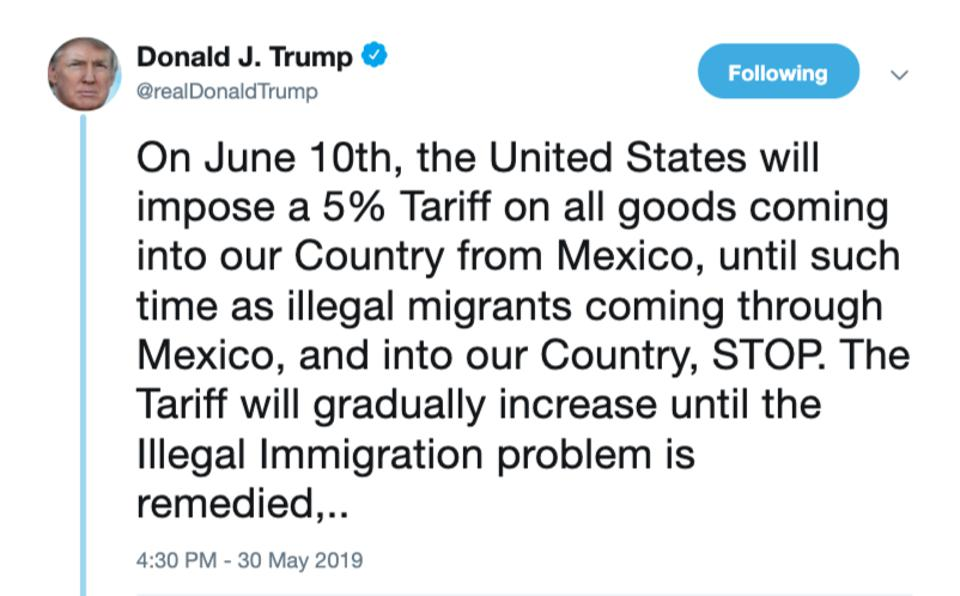 Trump announcing 5% tariffs on Mexican goods