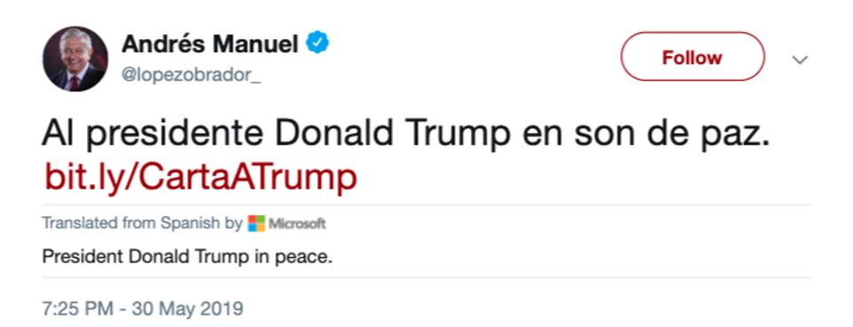 Mexican President tweet to Donald Trump