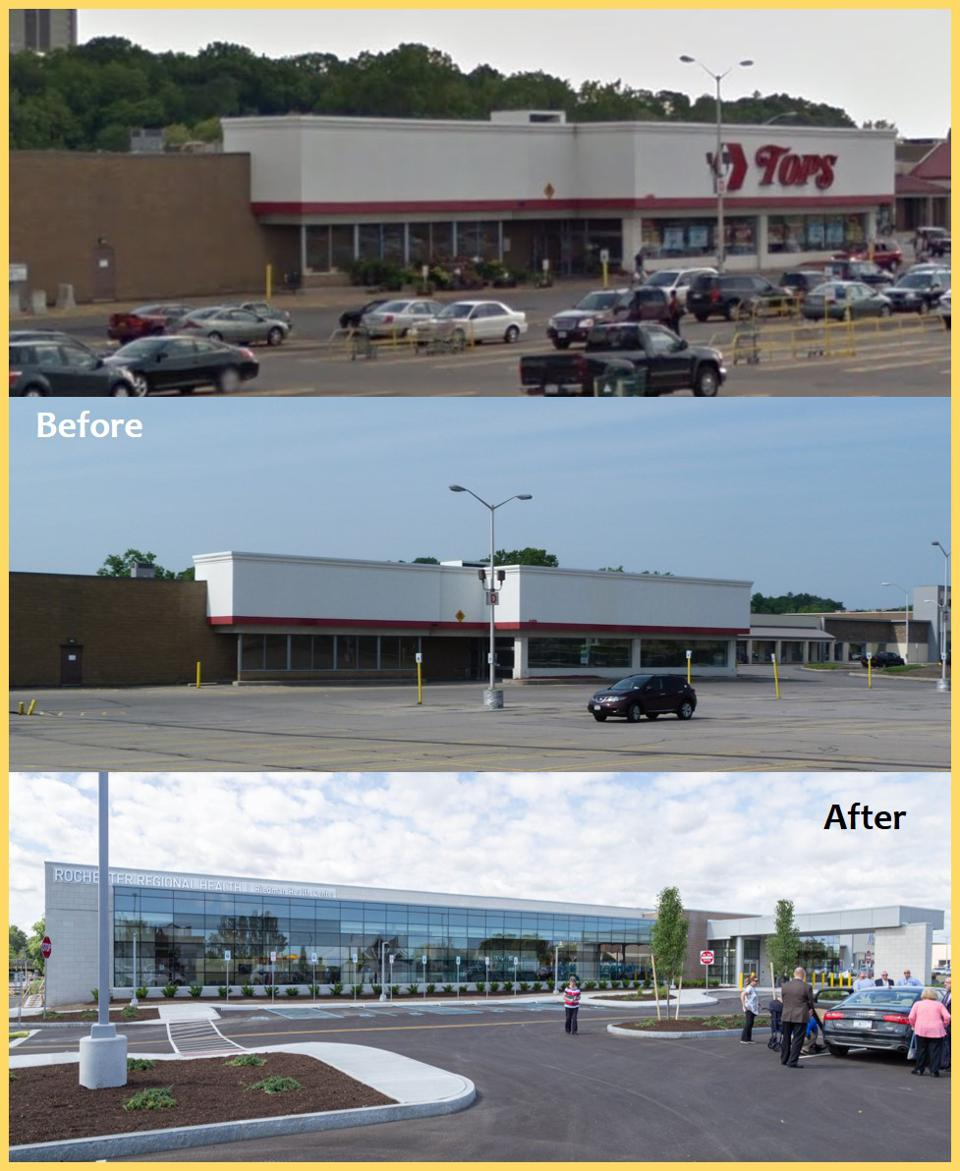 three images. top: exterior of Tops market and parking lot. middle: abandoned market, empty lot. bottom: The new Riedman Health Center.
