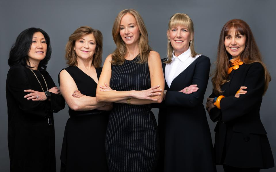 Julian Guthrie (center) and the four alpha girls of her book.