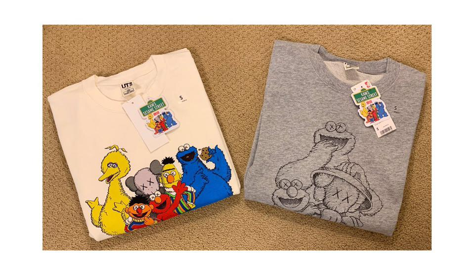229a8a4d8 Two t-shirts with Sesame Street characters. T-shirts from the KAWS x Uniqlo  ...