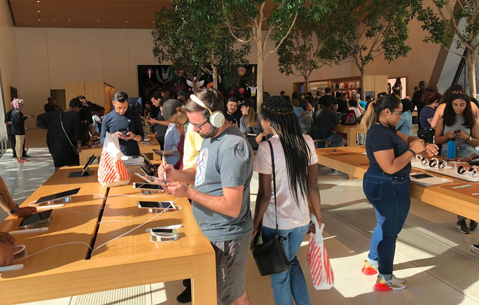 A crowded Apple store in Brooklyn, NY - Sept., 2018