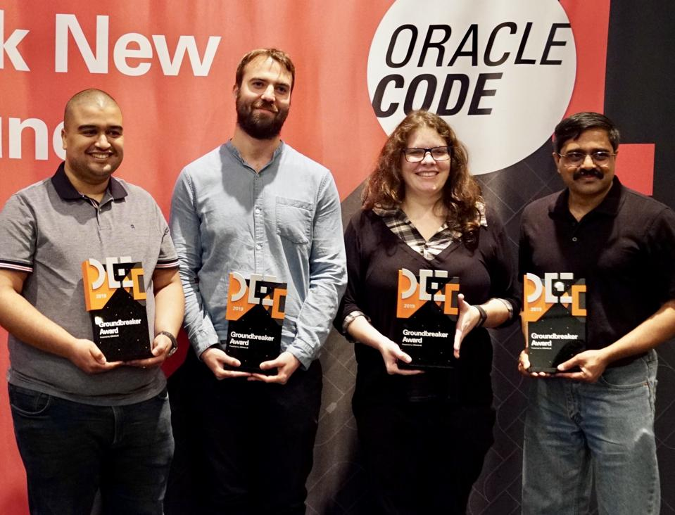 Honored with Groundbreaker Awards at Oracle Code in New York are, from left, Nebrass Lamouchi, Rafael Winterhalter, Carla De Bona, and Venkat Subramaniam.