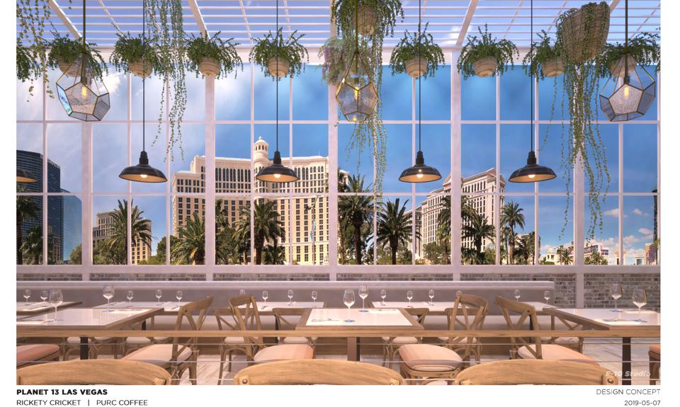 Amazing views of the Las Vegas Strip await coffee and pizza patrons of Planet 13
