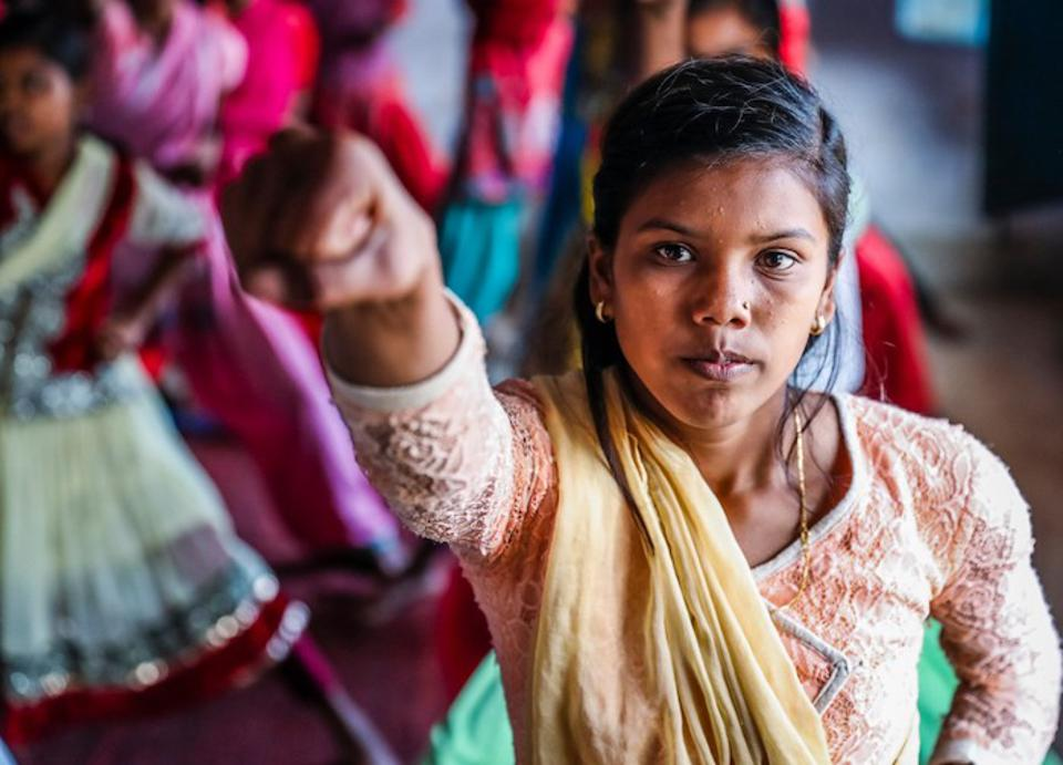 In December 2016, girls attend Karate classes in the village of Madanpur in India's Jharkhand State as part of a UNICEF-supported adolescent empowerment program aimed at preventing child marriage and encouraging girls to reach their full potential.