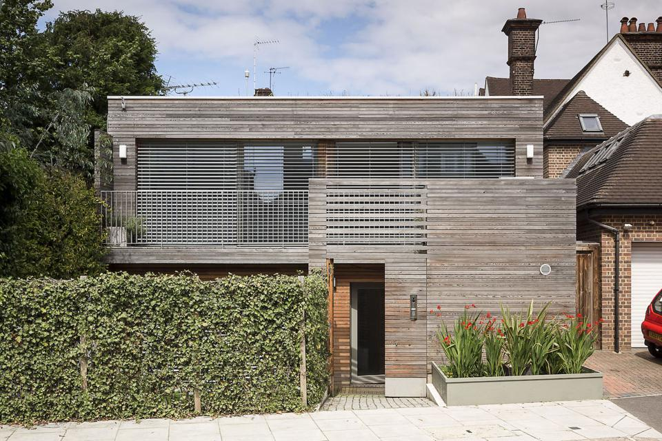 This panelized/timber frame Passivhaus house in London, England was designed by bere:architects.