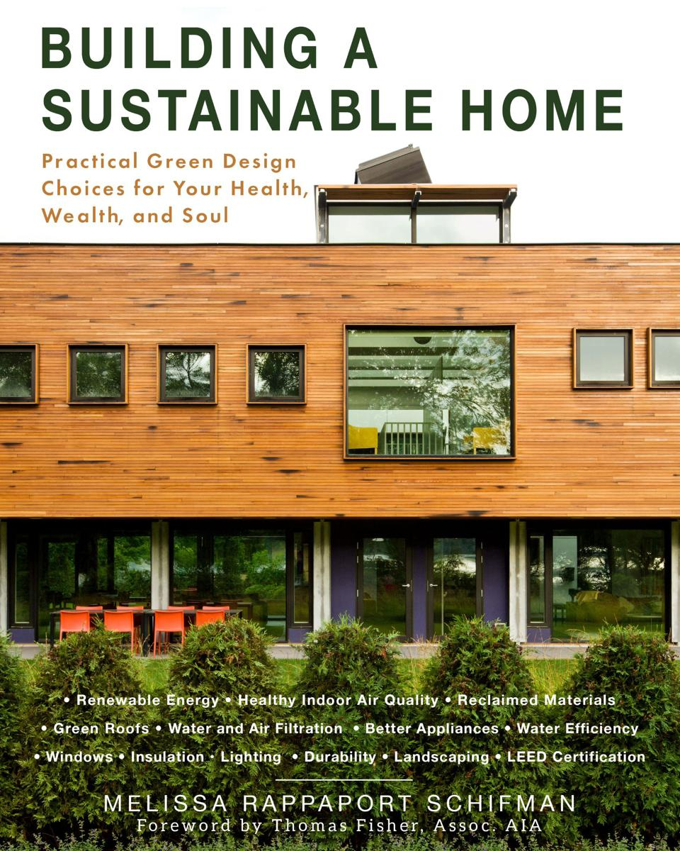 The book cover with an image of the author's modern house clad in reclaimed cedar cypress. The rooftop clerestory brings in light and has an operable skylight that helps ventilate and cool the home.