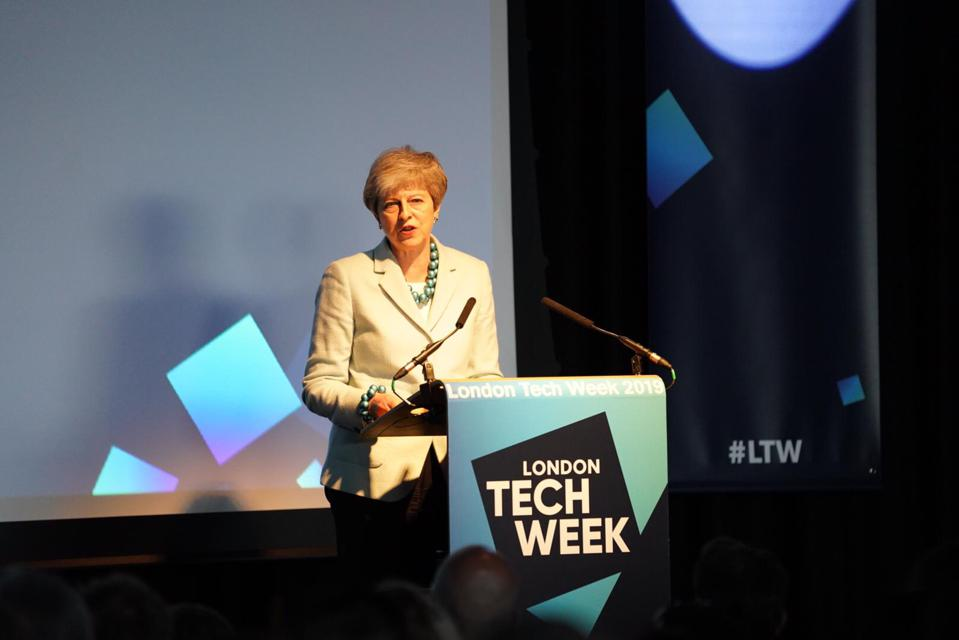 PM Theresa May at the launch of London Tech Week