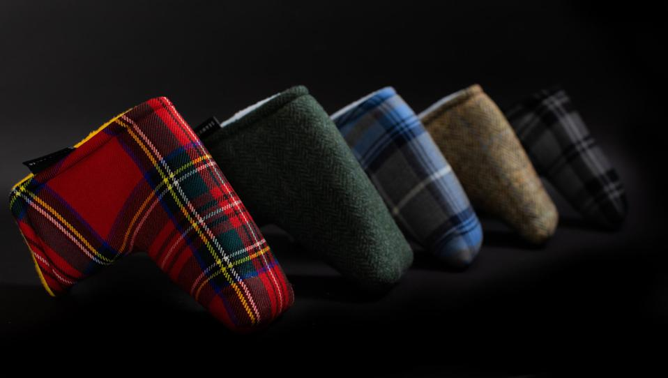 A collection of putter head covers from Seamus Golf