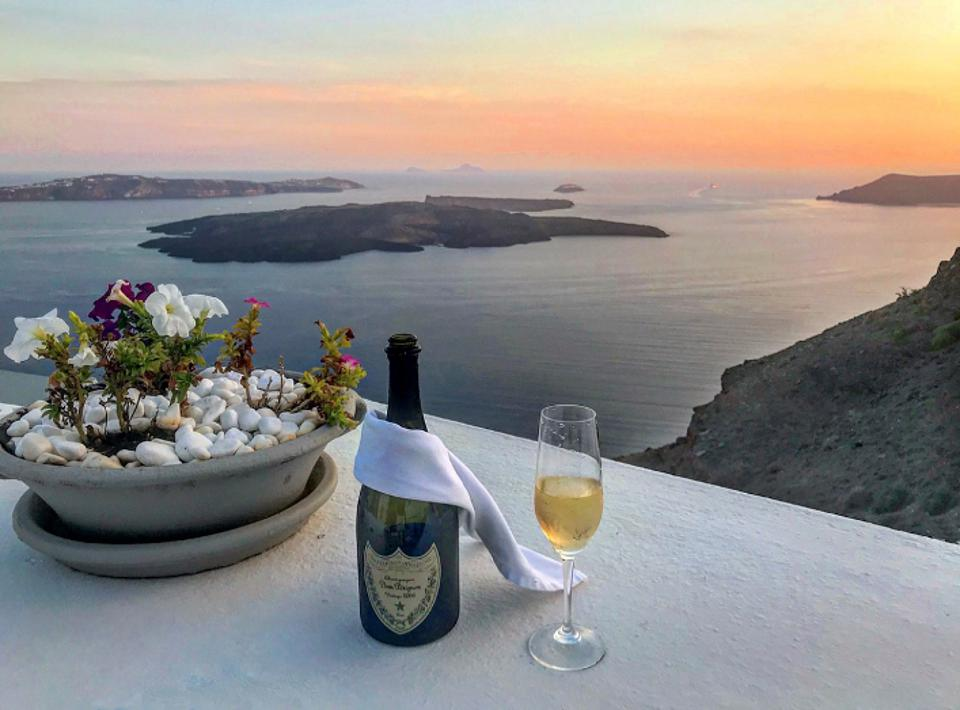 Champagne views from Iconic Santorini Hotel