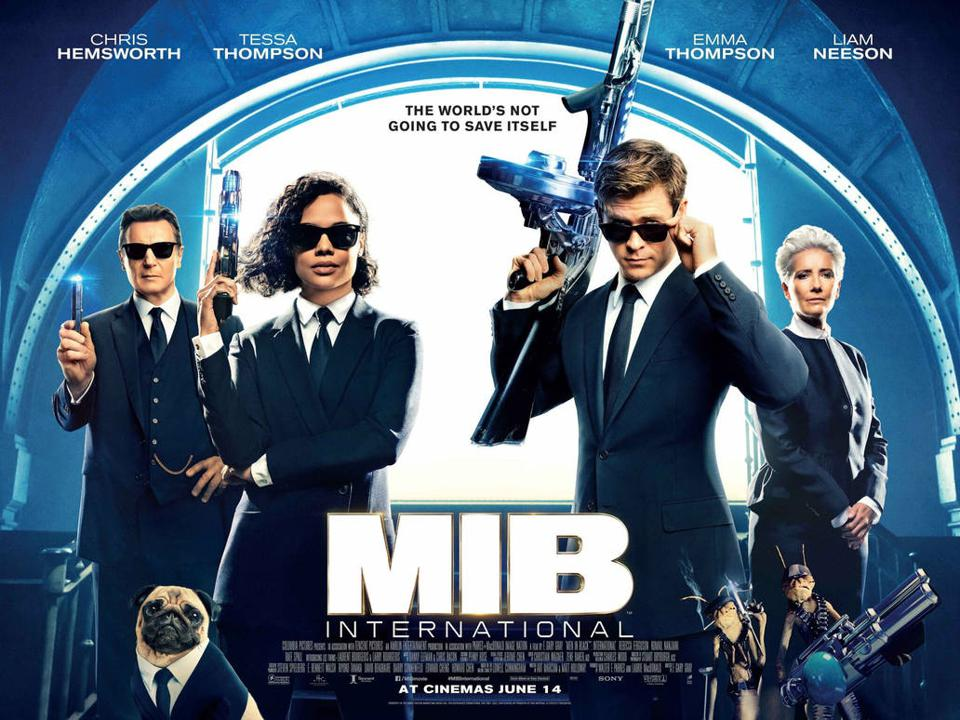 Chris Hemsworth, Tessa Thompson, Emma Thompson and Liam Neeson in 'Men In Black: International'