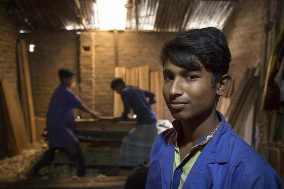 Sixteen-year-old Mohammad and his fellow students are learning carpentry skills in a woodworking shop in Court Bazar.