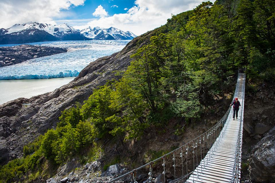 One of the famous swing bridges in Torres Del Paine, with Grey Glacier in the background