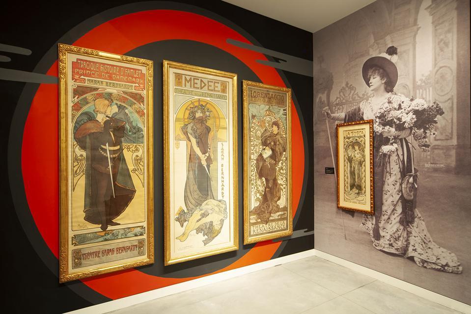 Four posters representing actress Sarah Bernhardt