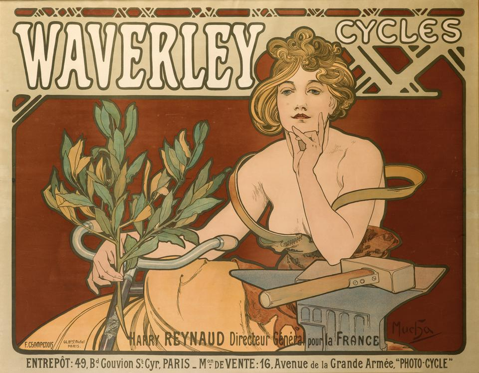 An independent woman on a bicycle by Alphonse Mucha