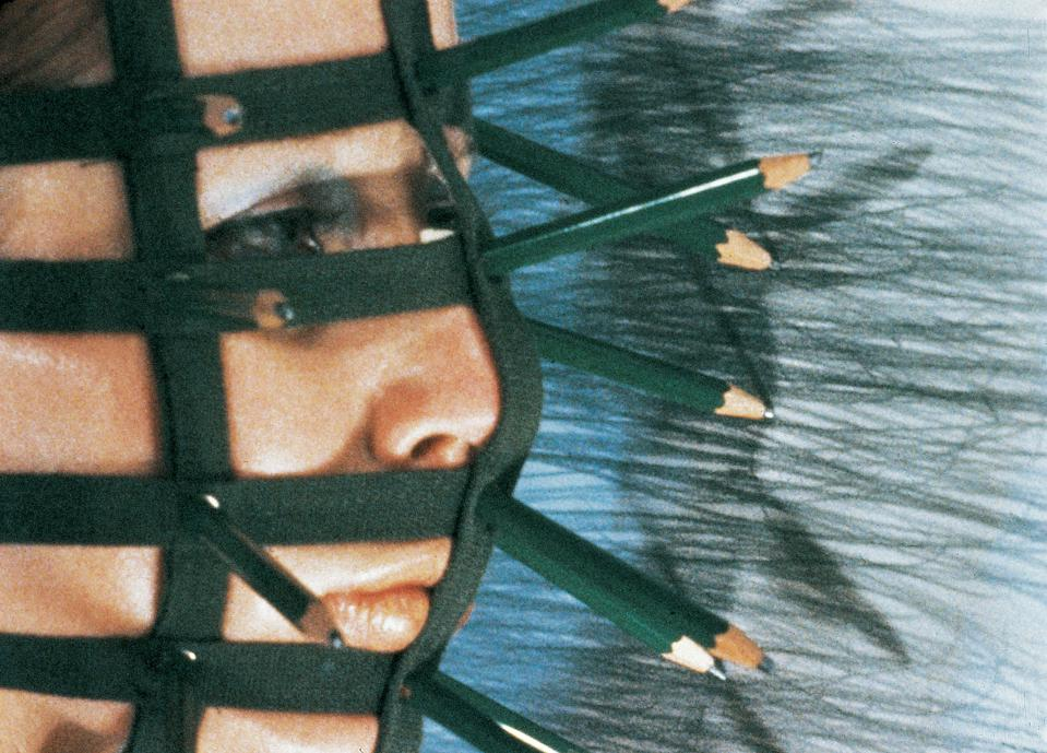Rebecca Horn, Pencil Mask, 1973 (Filmstill). 16 mm (digitised), color, sound. Rebecca Horn Collection. © 2019: Rebecca Horn/ProLitteris, Zürich