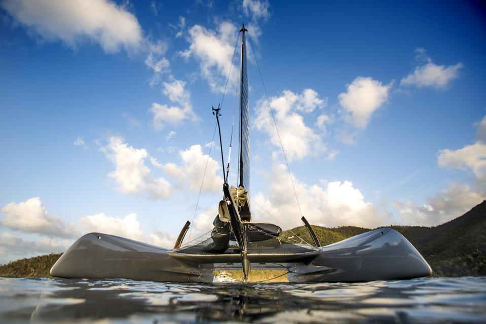 The wave piercing bows of Donald Sussman's radical new catamaran off St Barth's
