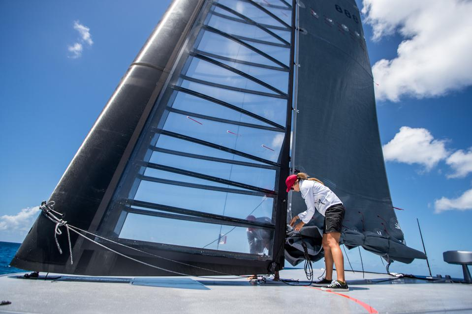 The radical wing sail on Donald Sussman's radical new catamaran off St Barth's