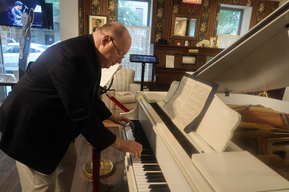 Loren Schoenberg, a veteran saxophonist, pianist, educator, historian, founding director and senior scholar of the National Jazz Museum in Harlem plays Duke Ellington's piano.