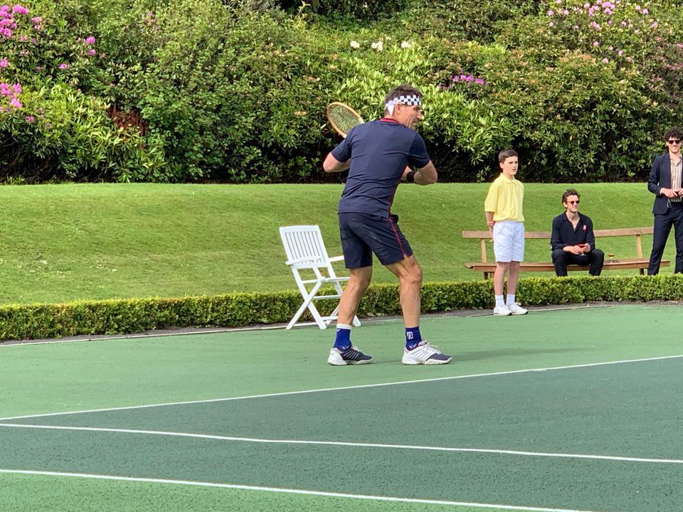 1987 Wimbledon Champion Pat Cash plays tennis at Gleneagles in Scotland.