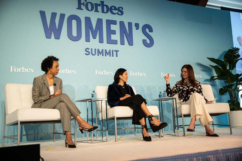 From left: Nina Shaw, Aileen Lee and Desiree Gruber at ForbesWomen Summit 2019.