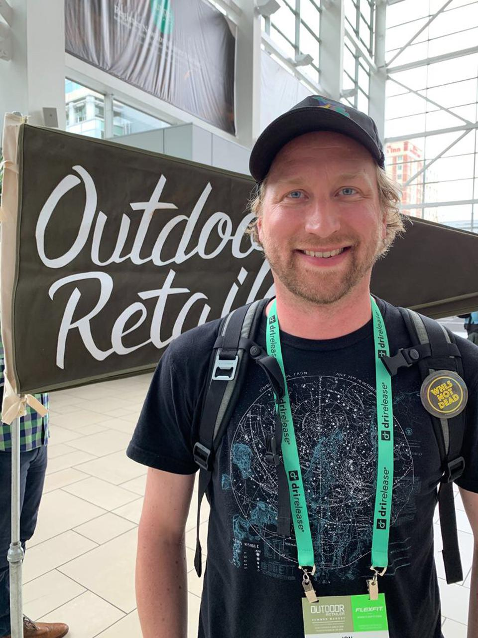 A photo of Envoy CEO Jon Faber at the Outdoor Retailer show in Denver on June 17.