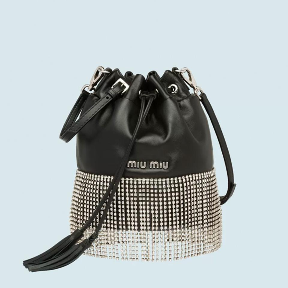 Miu Miu Leather Buckey Bag with Crystals