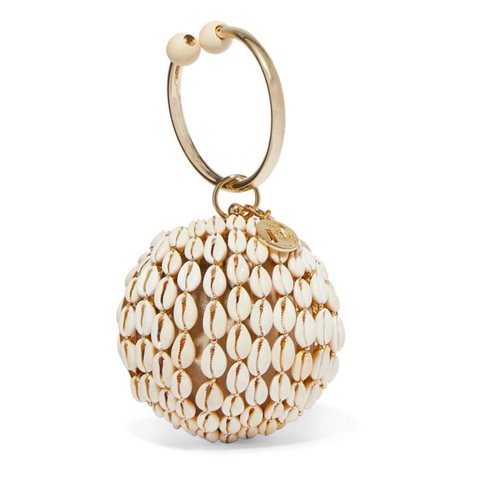 Rosantica Lira Gold-Tone Bead and Shell Tote