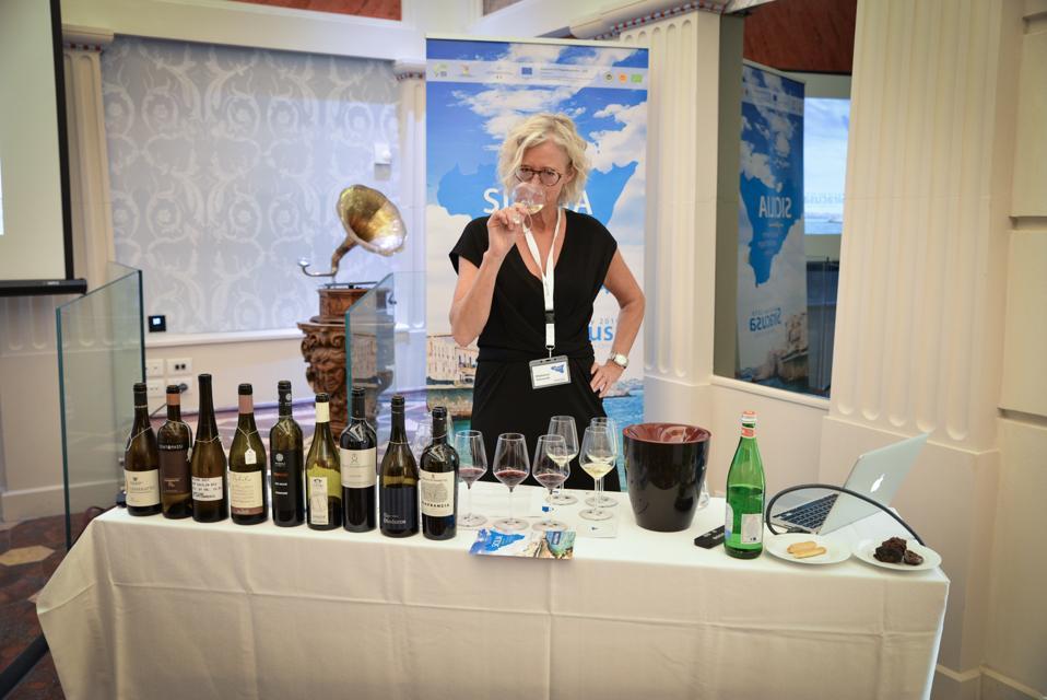 Madeleine Stenwreth MW Tasting Wine Before Lecture