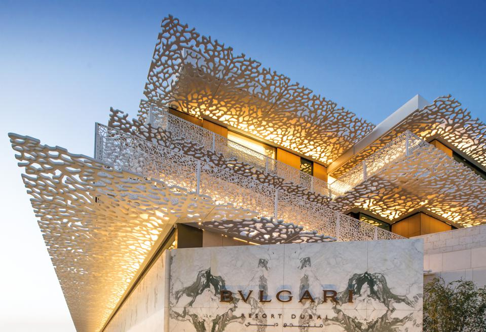 The entrance to Bvlgari Resort Dubai