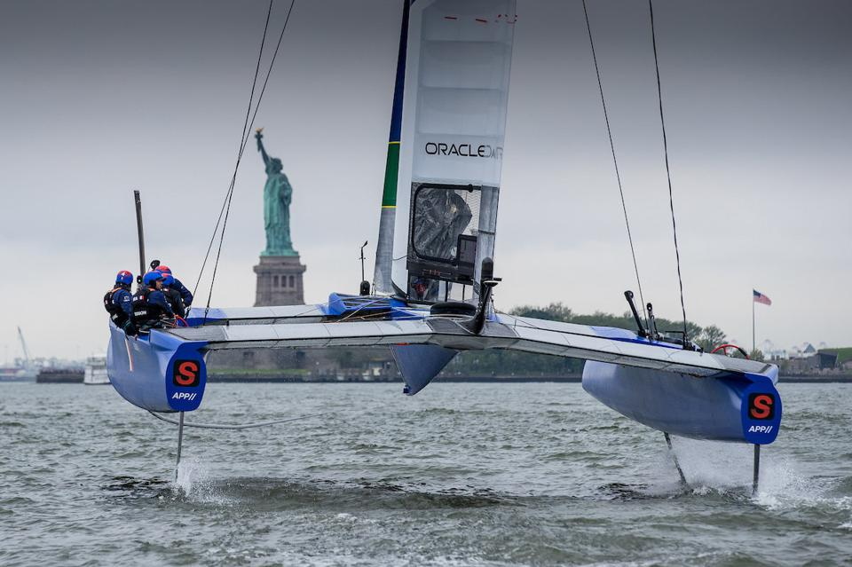 SailGP 50-foot hydrofoiling catamarans will be ″flying″ in New York Harbor this weekend.