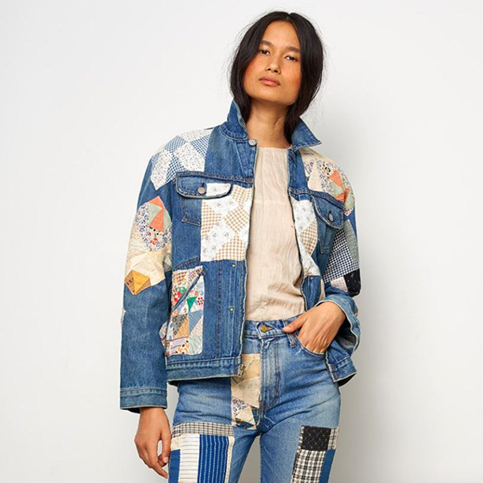 B Sides Lennon Denim Jacket in Isaac Antique Quilt Patchwork