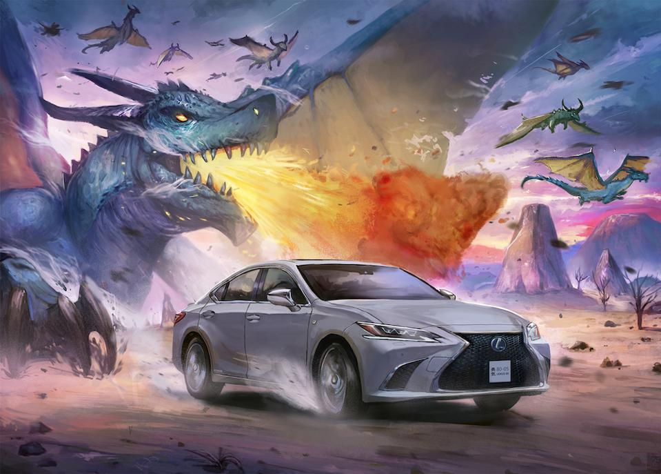 Timothy Kong depicts the Lexus ES in manga style replete with chasing dragon