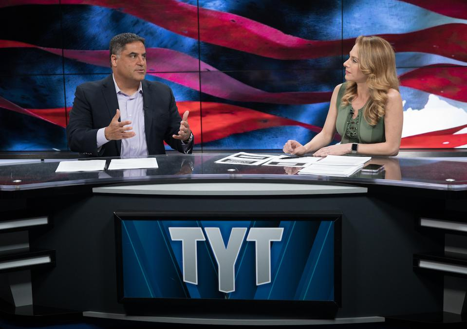 The Young Turks set with Cenk Uygur and Ana Kasparian